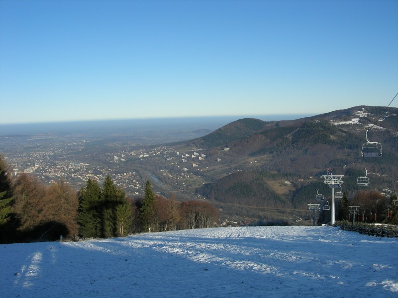 Ustroń zimą - widok z Czantorii